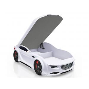 Кровать машинка Junior с матрасом с фирменными полосками и подъемным механизмом